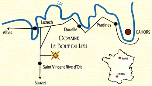 plan locating St Vincent rive d'olt in comparison with Cahors